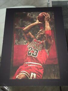 NBA Chicago Bulls MICHAEL JORDAN Stephen Holland 11x14 Lithograph BasketballRare