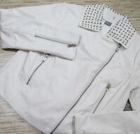 TT-22 Bagatelle faux leatherstudded  jacket WHITE  sz L nwot $229