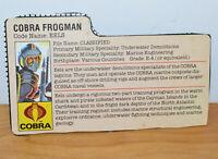 "VINTAGE GI JOE EELS COBRA FROGMAN FILE CARD ACCESSORY 3.75"" ARAH ACTION FIGURES"