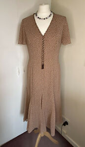Jacque Vert Occasion / Party Dress Beige Spotted Mid Length Size 12
