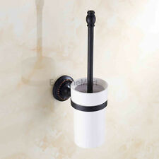 Oil Rubbed Bronze Wall Mounted Bathroom Ceramic Toilet Brush and Holder Set E025