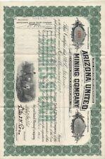 1912 Stock Certificate Arizona United Mining Company w/ Mining Vignette