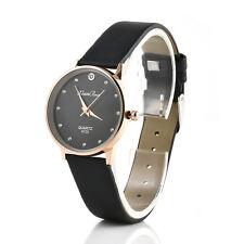 Women black Stainless Steel Crystal Watches Quartz Leather Analog Wrist Watch