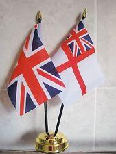 UNION JACK & WHITE ENSIGN TABLE FLAG SET 2 flags GOLDEN BASE ROYAL NAVY BRITISH