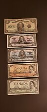 Lot of 5 Canadian Banknotes from 1923, 1937 & 1954. DEVIL FACE Notes Inclusive.