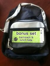 Childs Backpack with Bonus Lunch Tote Kids School & Meals NEW Black (C)