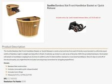 Sunlite Bamboo Bicycle Bike Basket with 2 quick release brackets and carry strap