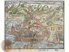 Algier Old woodcut map Algiers Islamic Algeria Münster 1628