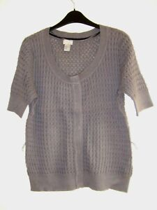 Lovely Grey Short Sleeve Cotton Cardigan Top from H&M, Size Medium - Great!