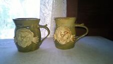 Stoneware Mugs Pair 3D Winged Sun Hand Crafted Goldenware Pottery Orl Fl 12 Oz