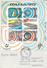 05438 - CALCIO - ITALIA 1990 FOGLETTO STADI SASS. 4 su BUSTA!
