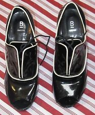 Vtg Bakers Granny Shoes Stiletto Heels Peep Toe Patent Leather White Piping 6.5M