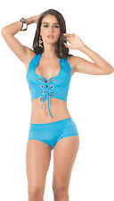 2077 Gogo Blue Turquoise Bikini Exotic Tie Tankini Dance Rave Club wear S M L