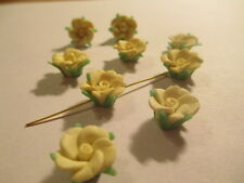 50 Yellow 12 mm Fimo Flower Clay  Beads So Pretty   A191