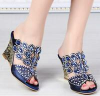 Women's Rhinestone Wedge High Heel Wedding Sandals Slippers Peep Toe Shoes