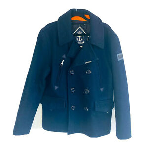 Superdry Heavy Wool Navy Jacket  Coat  Size M  Double Breasted Quilted Lining