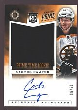 CARTER CAMPER 2012-13 PANINI PRIME ROOKIE AUTO JUMBO PATCH RC BRUINS /50 $25