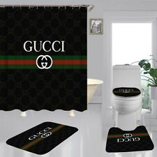 "Rare 4PCS Shower Curtain Gucci Christmas Gift Bathroom Carpet Set Size 70 ""x 70"""