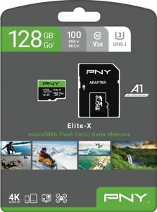 PNY Elite-X Micro SD microSDXC 128GB, U3, V30, A1, Class 10, up to 100MB/s