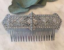Art Deco Crystal Rhinestone Bridal Hair Comb Silver Wedding Headpiece