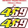 Nicky Hayden Rossi 469 46 69 Stickers / Decals - 150mm x 55mm X2