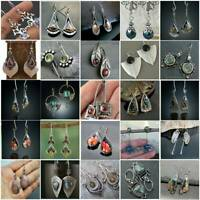 925 Silver Multi-Color Gemstone Ear Hook Dangle Drop Earrings Women Jewelry UK