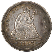 1853 Arrows & Rays Liberty Seated Silver Quarter 25C AU