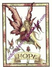 Amy Brown Note Card Hope Banner Fairy Butterfly with Border Pink Roses Wings New