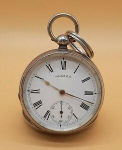 Schöne aus echt Silber englische A.W.W.Co Waltham Mass Taschenuhr