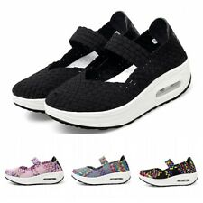 Fashion Women Woven Shoes Pumps Platform Wedges Elastic Casual Sneaker Walking D