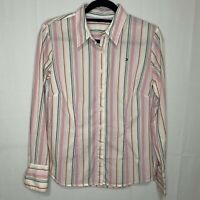 TOMMY HILFIGER Women's Classic Striped Long Sleeve Button Down Shirt Sz 10