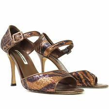 Manolo Blahnik Bronze Black Sequins Tiger Heels Pumps Open Toe Ankle Strap 39.5