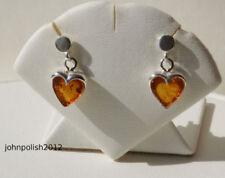 Orecchini di lusso con gemme di cuore di pietra principale ambra ambra