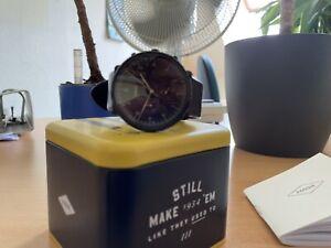 Fossil Herren Chronograph Uhr mit Lederarmband FS5485