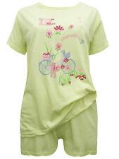 Damen SHORTY Pyjama Kurzer Schlafanzug Nachtwäsche Set Top Shorts LIME Neu 38/40