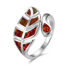 Exquisite Red Artificial Opal Leaves Ring Silver Wedding Jewelry Gift Adjustable