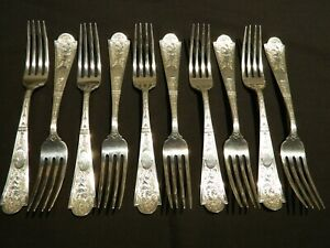 "Scarce Albert Cole 1835-1875 Sterling Silver CUPID Dinner Forks 10 - 7 1/2"" 603g"