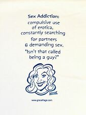 FUNNY TEES 4U! Sex Addiction Tee, white with blue letters. All sizes.