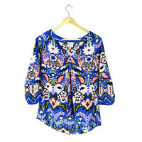 Fig Flower Tunic Top PM Anthropologie Blouse Casual Blue Floral 3/4 Sleeve
