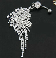 Tassel Chain Dangle Body Piercing Jewelry Crystal Navel Belly Button Ring Bar