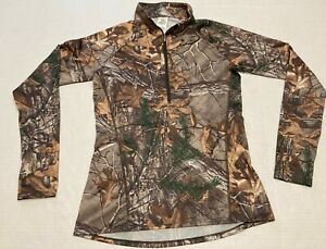 Women Under Armour Real Tree Xtra Camouflage Fitted Shirt 100% Polyester Zipper