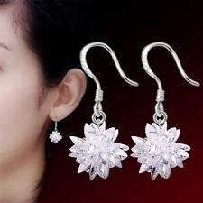 925 Sterling Silver Zirconia Snowflake Drop Dangle Earrings Women Jewelry Gifts