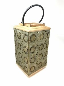 Gold Oxidized Vintage Style Lantern Mesh Wood Frame With Metal Candle Holder 12""