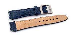 Uhrenarmbänder  Dornschließe- passend für SWATCH  Uhren Leder,blau-19mm