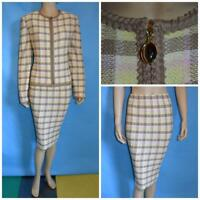 ST. JOHN COLLECTION Beige Green JACKET SKIRT L 12 10 2pc Suit Plaid Multi-Color