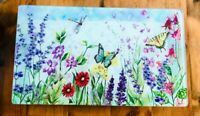 Serving Tray-Summer Theme-Butterfly-Flower Large-Footed-20x12x2 in.Susan Winget