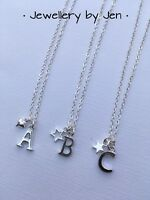 Personalised Silver Plated Necklace initial - heart - star Adults/Childs