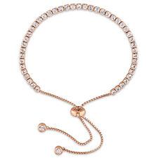 Amour Rose Plated Sterling Silver Topaz Adjustable  Tassel Bolo Bracelet