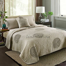 Reversible Quilted Cotton Patchwork Coverlet Bedspread 3pc Set Queen King MP018A