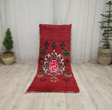 """Vintage Moroccan Boujaad Handmade Rug 2'8""""x7'5 Berber Floral Red Wool Rug"""
